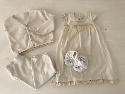 NaturaPura Outfit Set Kleid Creme Taufe Festlich Gr.68/74 - Taufe Outfits