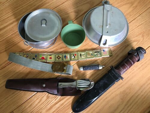 Vintage Boy Scout Camping Set and other items