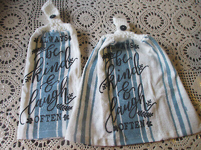 2 Hanging Kitchen Towels (2 Hanging Kitchen Dish Towels With Crochet Tops Always Be Kind &)
