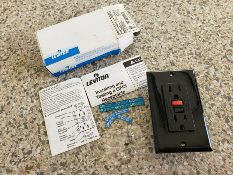 LEVITON 6599-E GFCI 15A 125V Black Outlet with Plate New old stock open box