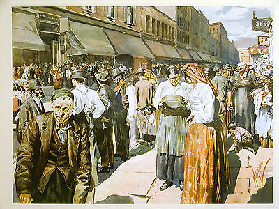 NYC Lower East Side MARKET PLACE PEDDLERS BUYERS 1899 Antique Art Print Matted