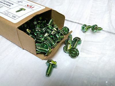 """(Box of 100 pc) NEW Green Grounding Screws #10-32 x 3/8"""" Ground Screw"""