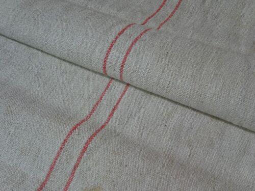 Antique European Feed Sack GRAIN SACK Red Stripe # 8977