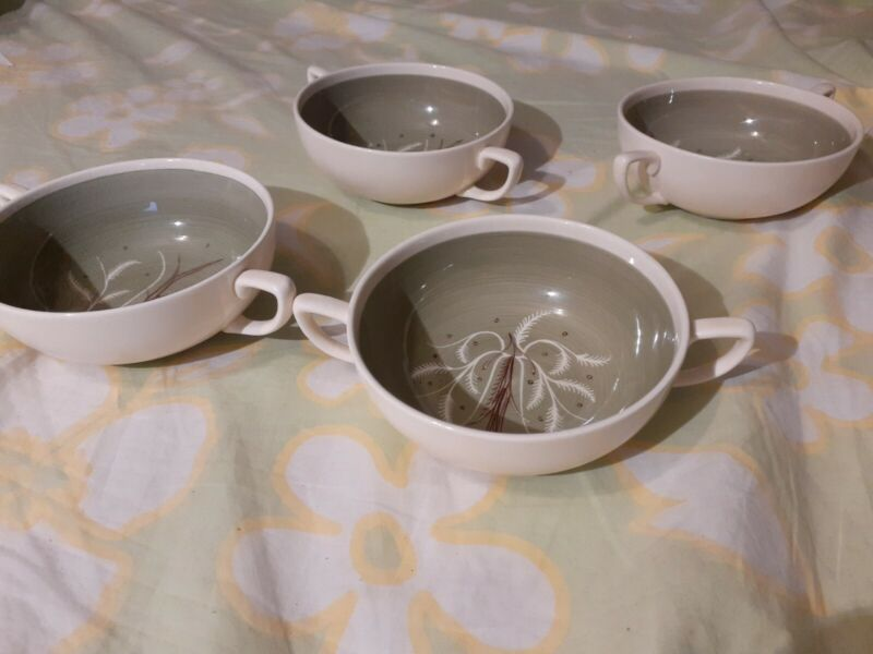 Susie Cooper Chinese Fern England Soup handle bowls lot of 4