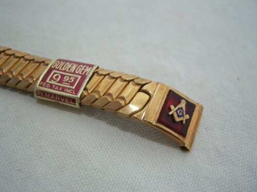 MASONIC WATCH BAND GOLDEN GEM BY MARVEL NEW! Red Emblem Gift Vintage Stretch