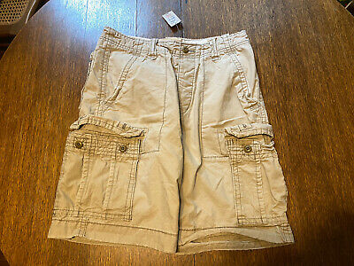 Hollister By Abercrombie Khaki Cargo Shorts NO Belt Size 31 Tan