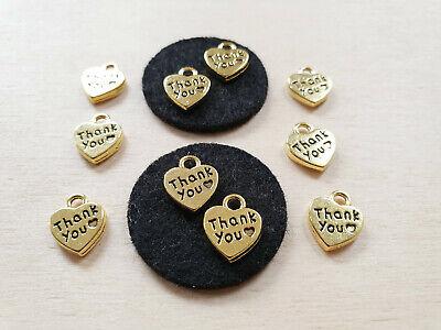 10 x Herz Anhänger THANK YOU ♥ Danke ♥ Schmuckzubehör Basteln Deko Charms Gold