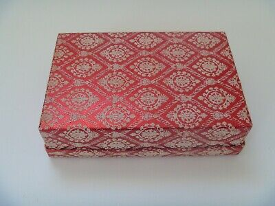 "Vintage Revlon Box - Faux Fabric ""Fuzzy"" Raised White Pattern on Red Unique!!"