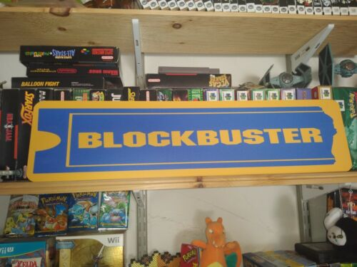 "BlockBuster Sign, 6"" x 24"" Aluminium retail display, Block Buster!! Video Games!"