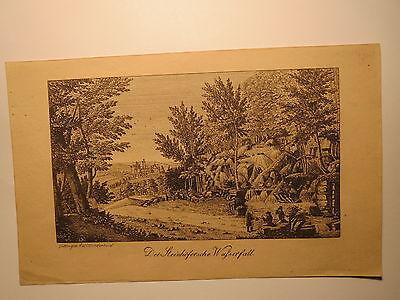 Kassel Wilhelmshöhe Wasserfall Stammbuchblatt um 1830 / Alter Druck / Wiederhold