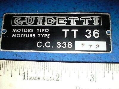 Motor/ Engine Tag from Guidetti TT36  C.C. 338 779 Alaska Ski Snowmobile? 1960s