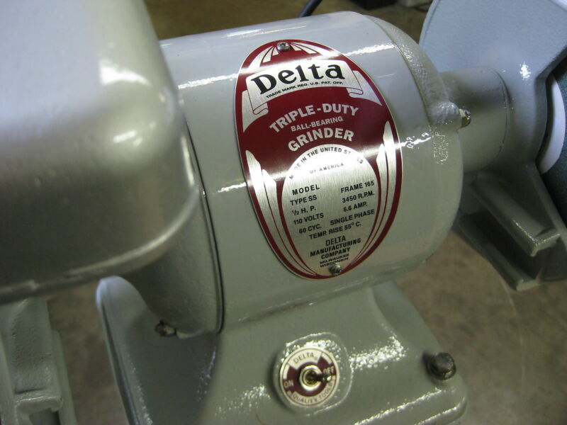 NAME PLATE - Delta TRIPLE DUTY GRINDER motor - NEW ITEM - PERFECT NAME TAG