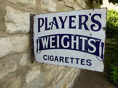 Original Players Weights Vintage Double Sided Enamel Sign.