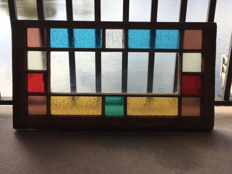 ANTIQUE QUEEN ANNE BEAUTIFUL RARE COLORED GLASS WINDOW, INTACT, NO CRACKS