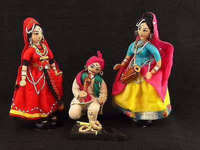 Vintage Set Indian Figurine Dolls Snake Charmer & Gypsy Women Dancing & Drumming