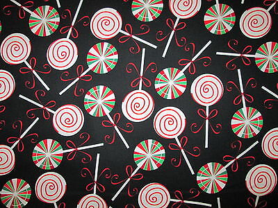 Lollipop Holiday Candy Suckers Red Green Cotton Fabric FQ