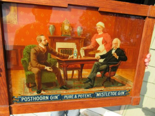 ORIGINAL 1899 REVERSE PAINTED GLASS POSTHOORN & MISTLETOE GIN SIGN F. TUCHFARBER
