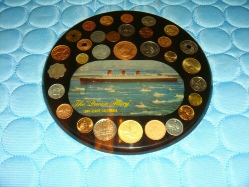 Rare Queen Mary Long Beach California Souvenir Wall Hanging w/Coin Collection