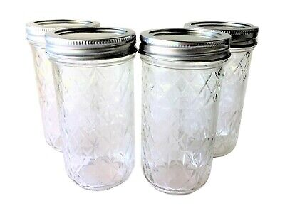 Ball Mason Jar Jelly Jars 12 oz. Quilted Crystal Style Regular Mouth-Lot of 4 (Ball Jelly Jars)