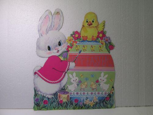 Vintage Die Cut Cardboard Bunny Painting Egg Happy Easter Decoration eas211