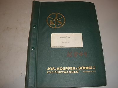 Jos Koepfer Sohne Gear Hobber Type 135 Accessories Manual