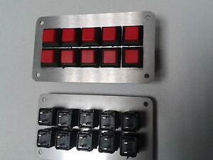 Schalterpanel 10x Ein-Aus Druck-Schalter Edelstahlblende matt NEU sehr klein