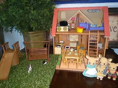 Calico Critters Lot,Cute Deer Family,cottage house w/ furniture,room,park,food Critter House Room Furniture