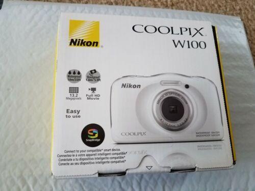 Nikon COOLPIX W100 13.2-Megapixel Waterproof Digital Camera White 26515