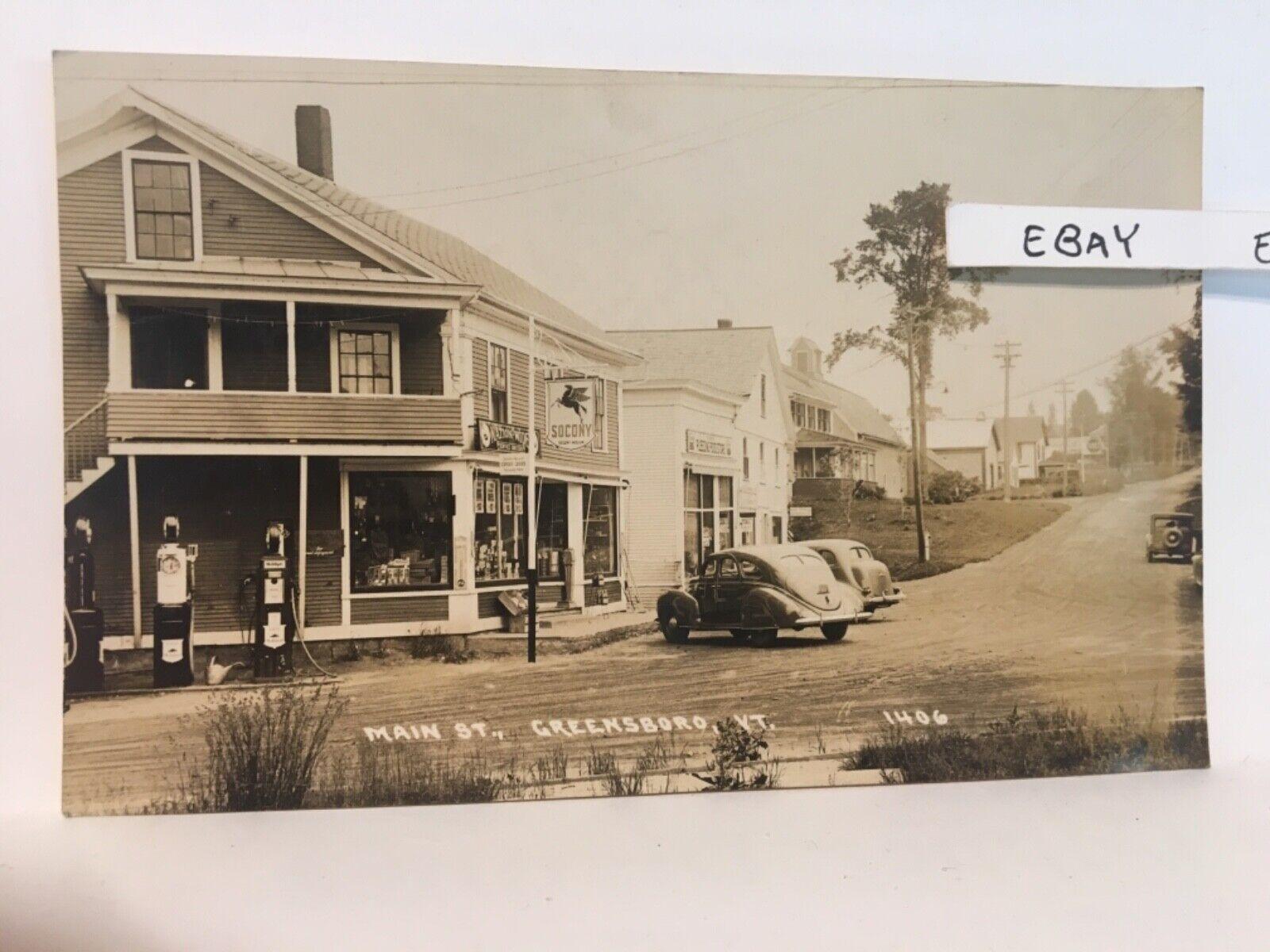 Old Greensboro VT. Main Street Socony Mobil Gas Rare Real Photo RPPC Postcard - $29.95