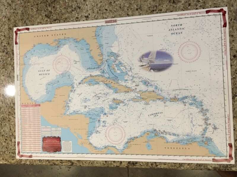 Waterproof Charts Map Caribbean Sea & Gulf of Mexico Nautical Marine NOAA 411