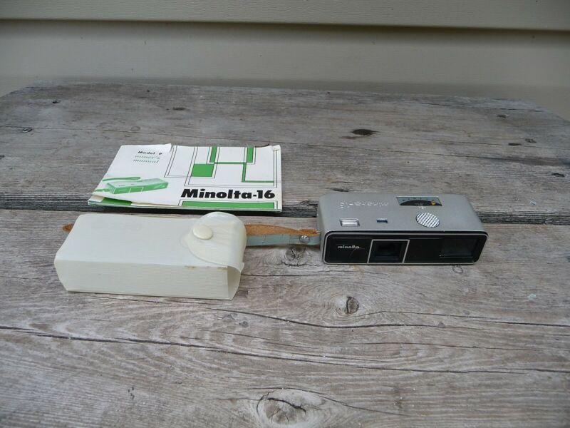 MINOLTA 16 MODEL P Miniature Spy Camera With Case & Manual NICE