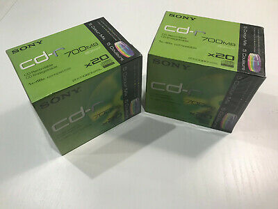 Pack of 40x SEALED Sony Cd-R 700mb 48x Speed 80min Recordable Coloured Slim Case, usado segunda mano  Madrid