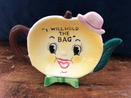 Vintage NAPCO Tea Bag Holder Lemon Head Hat Anthropomorphic