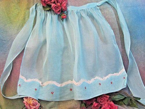 ANTIQUE vintage APRON blue LINEN voile fabric COTTON lace EMBROIDERY trim CRISP