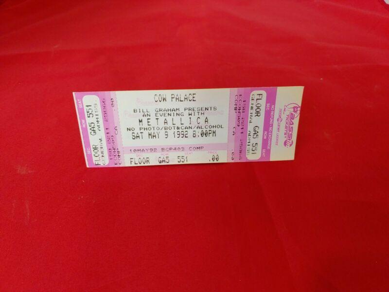 1992   Metallica  Unused Concert Ticket - Bill Graham - COW PALACE - SAN FRANCIS