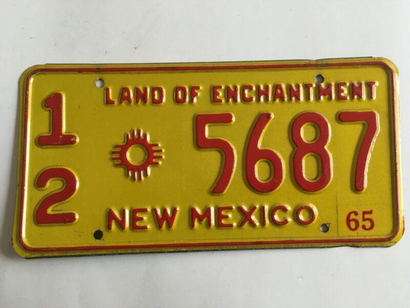 1965 New Mexico License Plate 100% All Original Natural Sticker