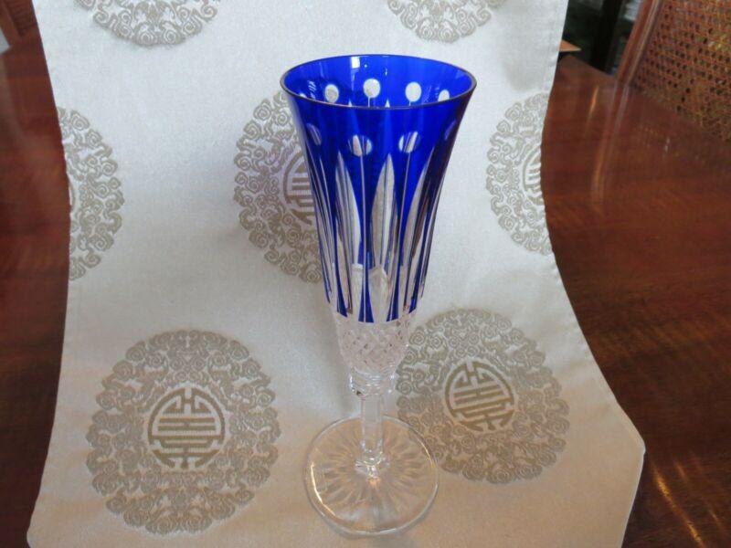 """St. Louis Tommy Champagne Flute - Rare Cobalt Blue - 8"""""""
