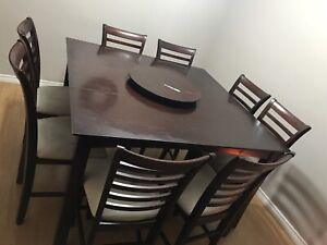 Bar height cherry dining table with 8 chairs