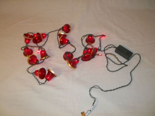 Vtg LIGHTED MUSICAL CHRISTMAS CAROL BELLS MINIATURE STRING LIGHT SET