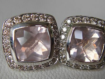 DAVID YURMAN, SS PETITE ROSE QUARTZ DIAMOND EARRINGS