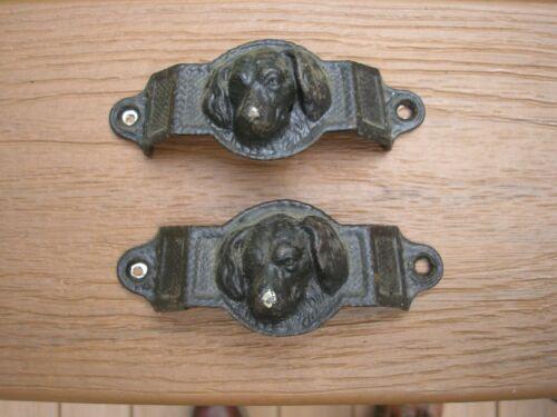 Antique cast iron Dog drawer pulls