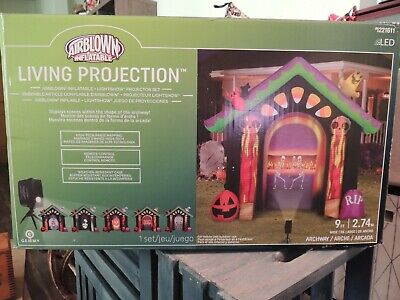 9' Haunted House Living Projection Halloween Airblown Inflatable Candy Corn