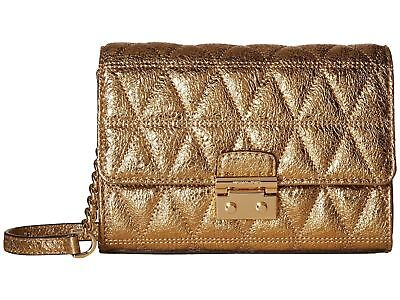 Michael Kors NWT $168 Ruby Pale Gold Metallic Quilted Leather Clutch CrossBody