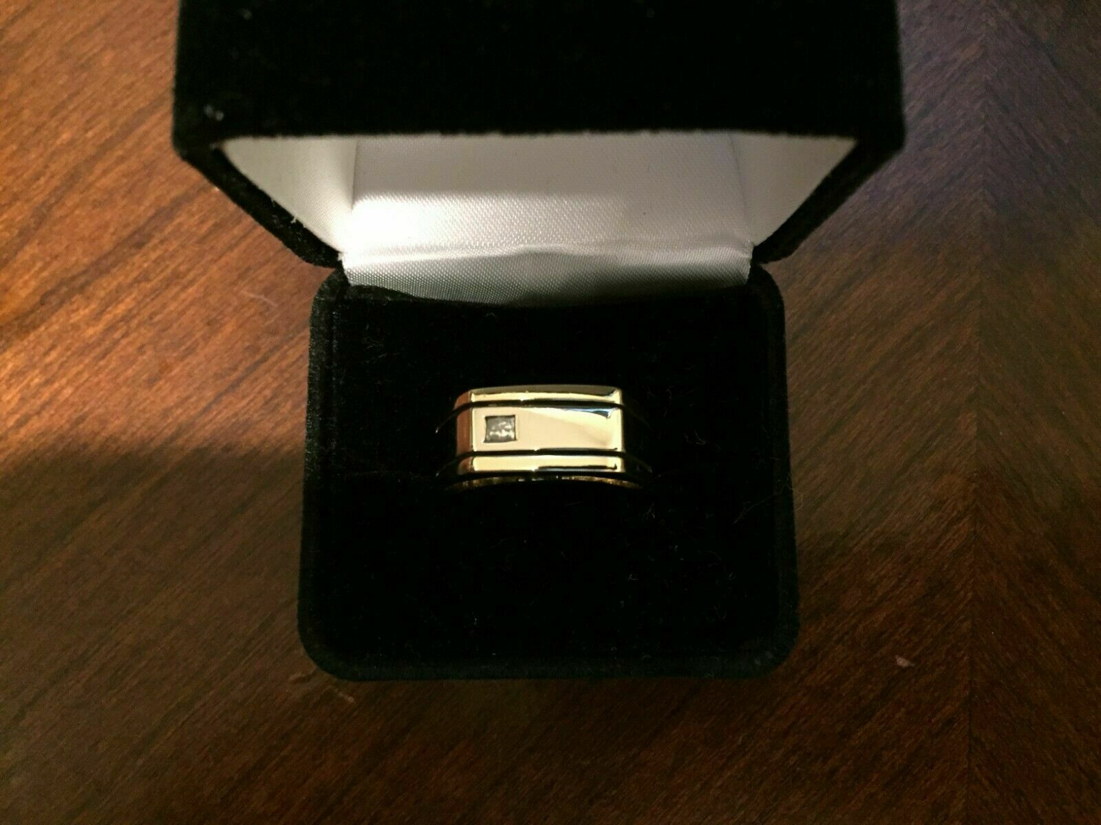 0.15Ct 14k Yellow Gold Over Two Tone Mens Wedding Band Engagement Diamond Ring  3