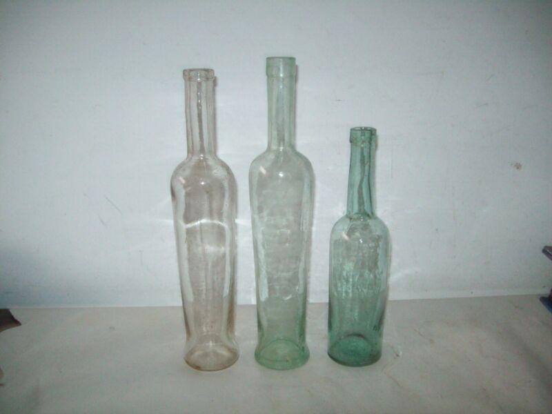 3 aqua tall  blown glass olive oil bottles 1890