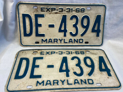 Vtg 1968 Maryland State License Plate Set Tags DE-4394