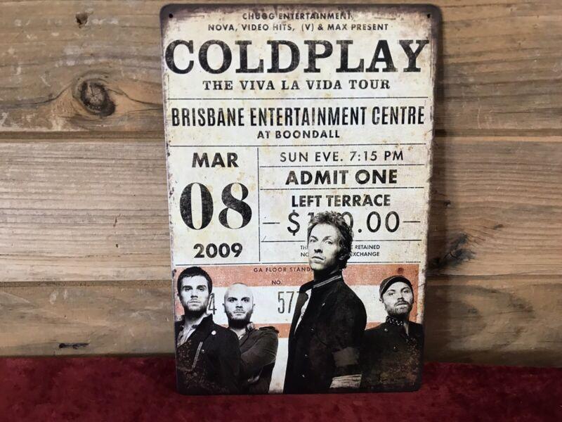 "Coldplay 2009 Brisbane AU Viva La Vida Tour Tin Metal sign 8""X12"" Man-Cave Décor"