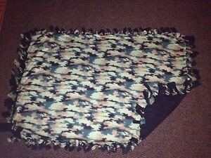 Green camo handmade fleece blanket