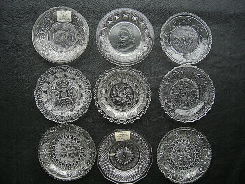 EAPG Early American Lacy Flint Glass Cup Plates Set of 9