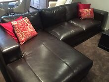 Dark brown leather lounge Bundoora Banyule Area Preview
